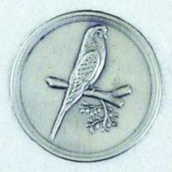 "Zinn-Emblem 50mm Vögel ""Wellensittich"""